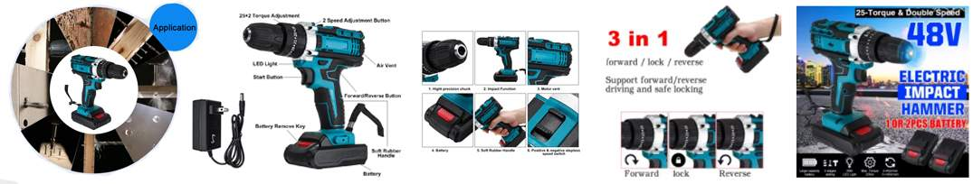 Chordless brushless power electric drill